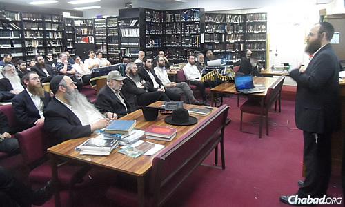 Rabbi Yonason Johnson, shown here at the Kollel Menachem Lubavitch in Melbourne, Australia, is planning an eight-hour program on June 3 to last the long winter night.