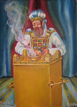 רישום אמנותי של הקטרת הקטורת בבית המקדש. ציורה של אהובה קליין (c)