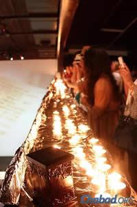 Jewish women light Shabbat candles prior to the event.