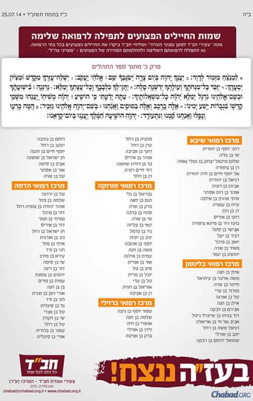 An ad in Israeli media provides the Hebrew names of the injured, along with their mothers' first names; the hospitals in which they are being treated; and Psalm 20.