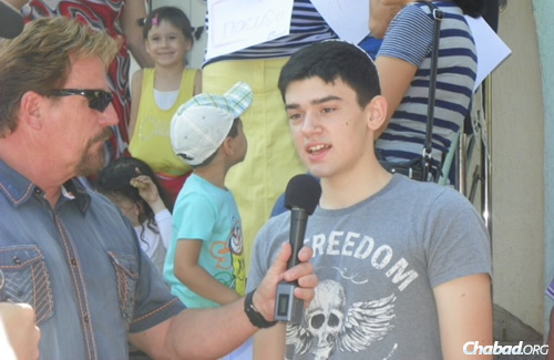 Daniel Sklyrov, 16, is another Lugansk native enjoying the refuge of the camp. He left Lugansk on July 22 with his grandmother and 4-year-old sister, Sonya, and is happy to finally be safe.