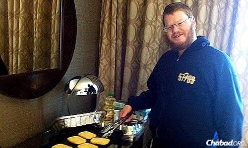 Lefkowitz flips latkes in a South Dakota hotel room at Chanukah time.
