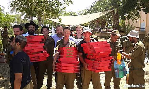 Rabbi Mendel Kaplan, third from left, of Chabad @ Flamingo in Thornhill, Ontario, flew to Israel last week with other Canadian Chabad representatives to support their fellow Jews. Once there, they brought 125 pizzas to Israeli soldiers in the south on a 36-hour military leave.