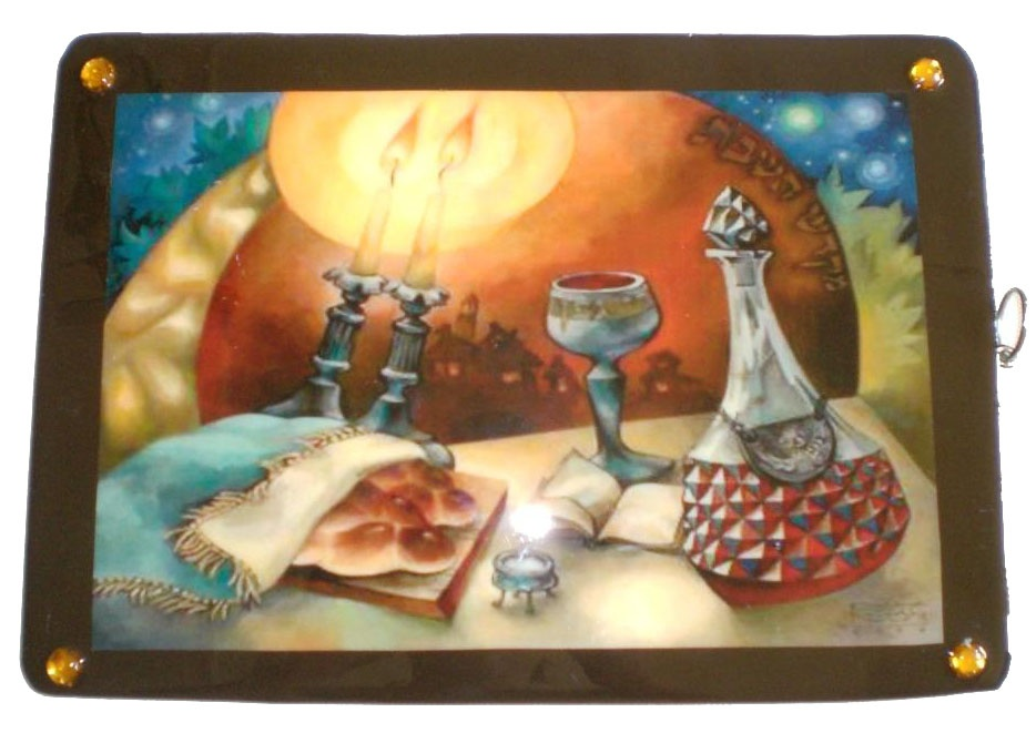Shabbat candles & wine design picture on a medium wooden Challah board with a glossy finish (knife also available).JPG