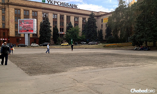 Heroes of Maidan Square, formerly Lenin Square. The square spot is where the towering statue of Bolshevik Revolution leader Vladimir Lenin used to stand before being razed in March.