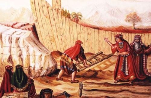 נח בונה תיבה מול לעגם של ליצני הדור. ציור: אהובה קליין ©
