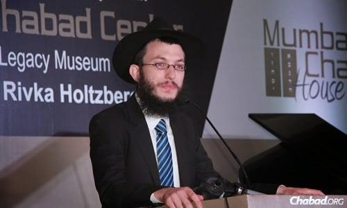 הרב ישראל קוזלובסקי בנאום בחנוכת בית נרימן