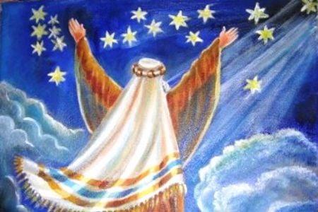 אברהם מקבל את ברכת ה'. ציור: אהובה קליין ©