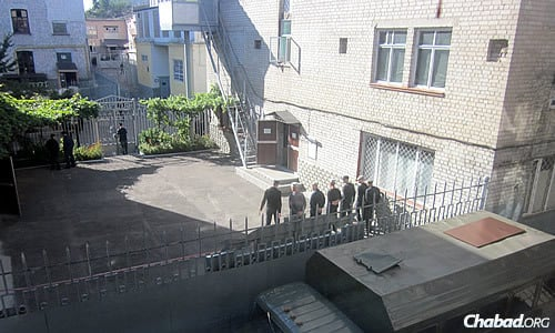 """This separate lineup of inmates is for the """"freshman,"""" who just arrived and will take part in an orientation of sorts. (Photo: Dovid Margolin)"""
