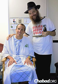 Rabbi Chayim Boruch Alevsky blows shofar for Bernstein while he was recovering in a New York hospital after being hit by a bicyclist in 2012.