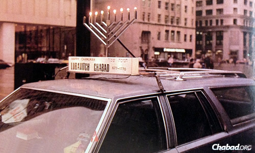 Complete with a light-up sign on a station wagon in Chicago, 1987.