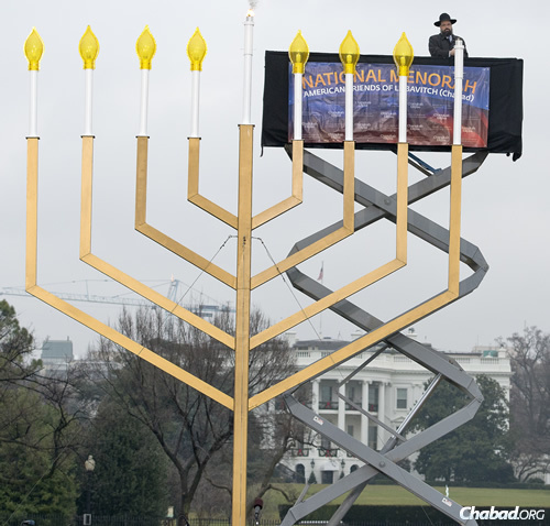 Lighting the first candle of the National Menorah. (Photo: Ron Sachs)