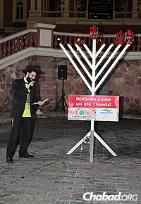 Rabbi Arieh Raichman, co-director of Chabad-Lubavitch of Manaus, Brazil, at a prior menorah-lighting.