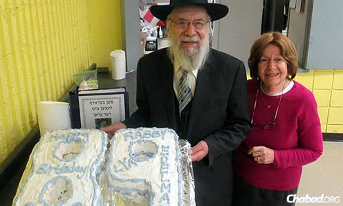 Rabbi Dovid Edelman with his wife, Leah, at his 89th birthday last December.