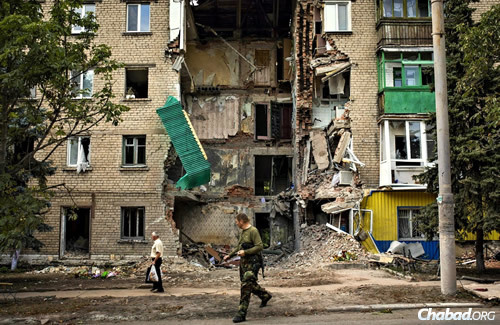 One of the many buildings in Donetsk, Ukraine, that has been damaged or destroyed by heavy shelling in recent days.