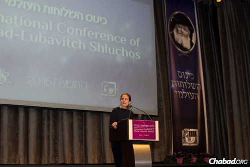 """Rhoda Dermer, wife of Israeli's ambassador to the United States Ron Dermer, told the crowd: """"In fact, when people ask me what it's like being the wife of Israel's ambassador, my usual response is: It's sort of like being the wife of your local Chabad rabbi."""""""
