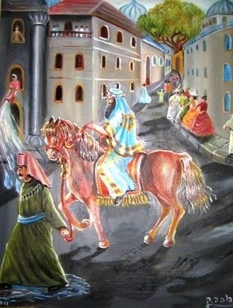 """""""ומרדכי יצא מלפני המלך""""... ציור: אהובה קליין"""