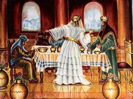 """אסתר מצביעה על המן: """"איש צר ואויב המן הרע הזה..."""" ציורה של אהובה קליין"""