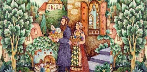 משפחה יהודית צועדת עם משלוח מנות