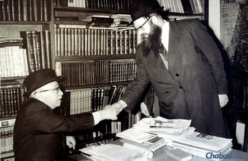 On a trip to Israel, Baumgarten meets with former president Zalman Shazar, an author and scholar who hailed from a Chabad background.