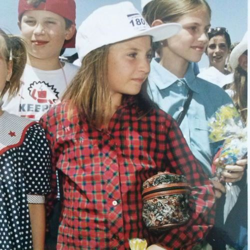 Anya arriving with fellow children brought to Israel by Chabad Children of Chernobyl.