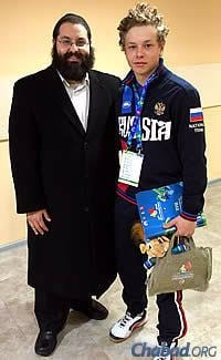 Soudakoff with Alik Yakovlev, a former camper of his representing Russia on the alpine skiing team.