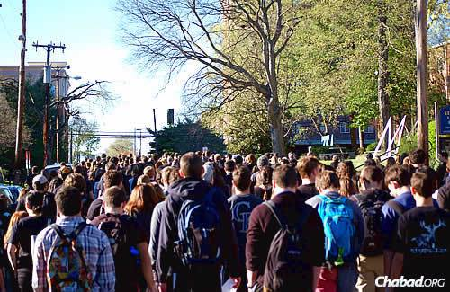 A silent march through campus; some 550 people participated in both that and the rally.