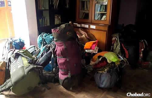 Placing personal items aside, as the Chabad center becomes a temporary haven.