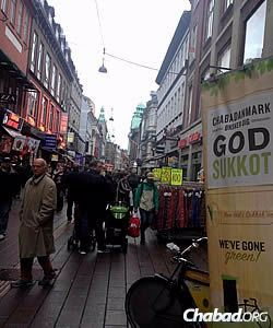 The streets of Copenhagen, where the rabbi and others pedal a mobile sukkah during the fall holiday of Sukkot.