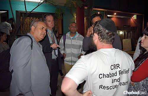 Rabbi Chezky and Chani Lifshitz, far right, have been meeting with foreign officials in Nepal, there to assess the impact the earthquake had on the nation's infrastructure, as they continue to focus on international and local recovery efforts.