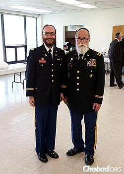 Goldstein with his nephew, Rabbi Maj. Chesky Tenenbaum, a chaplain in Maryland's state militia
