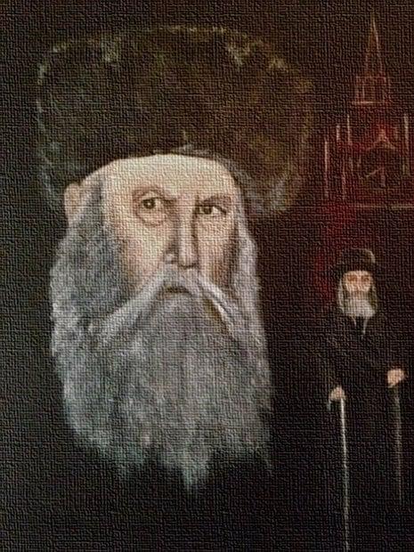 """הרבי הריי""""צ, רבי יוסף יצחק. ציור: חנה רבקה הוקינס"""