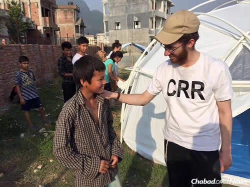 Sturdy waterproof tents are being set up near and far, as in this encampment near the Chabad center in Kathmandu. (Photo: Chabad of Nepal)