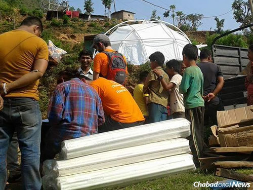 The tents will provide important shelter once the monsoon season begins this month. (Photo: Chabad of Nepal)