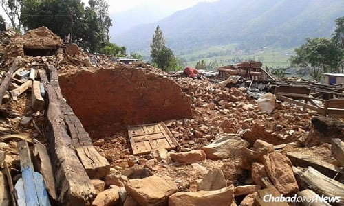 Entire villages, such as this one aided by Chabad, were leveled by the initial earthquake in late April, followed by subsequent major tremors. (Photo: Chabad of Nepal)