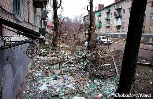 The detritus left in a village in eastern Ukraine following a battle in February.
