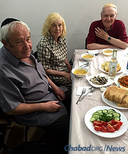 """The lunch spread welcoming the rabbi on his return back. """"It was a very warm reunion; we were all so happy to see each other again,"""" says Gopin."""