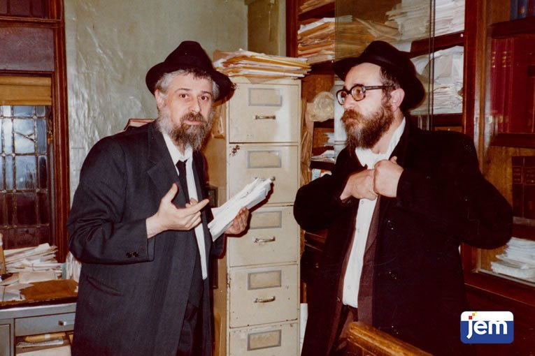 """In the """"mazkirus"""" room, where the Rebbe's staff worked."""