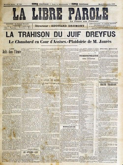 "Anti-Semitic newspaper headline, reads: ""The Treason of the Jewish Dreyfus"""