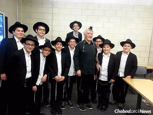 Mitchell Winthrop, center, was speaking to a group of students from Chicago's Seymour J. Abrams Cheder Lubavitch Hebrew Day School at the Illinois Holocaust Museum and Education Center in Skokie when the boys suddenly took charge, offering him a lasting lesson.