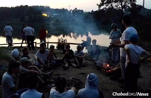 A bonfire at Yeka, one of the staples of summer camp everywhere.