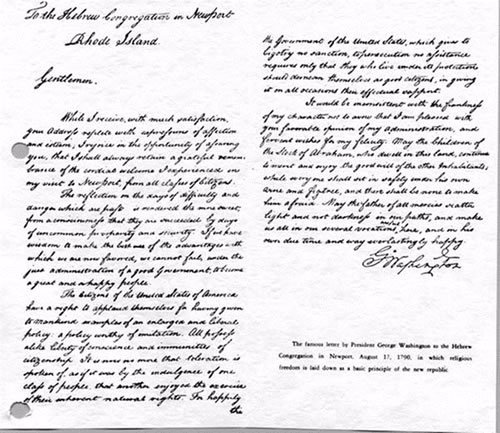 The letter sent by President George Washington to the Jews of Newport
