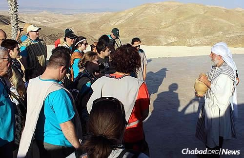 """At """"Abraham's Tent"""" in the Judean Desert, where the group rode camels and soaked up some history."""