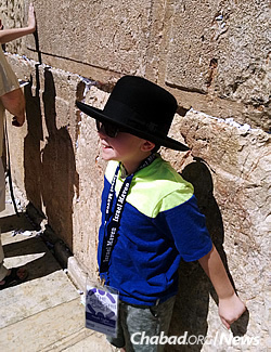 Noah Tighe at the Western Wall in Jerusalem