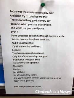 This poem written by 17-year-old Chanie Gorkin, with its unique style and positive message, was tweeted and went viral.