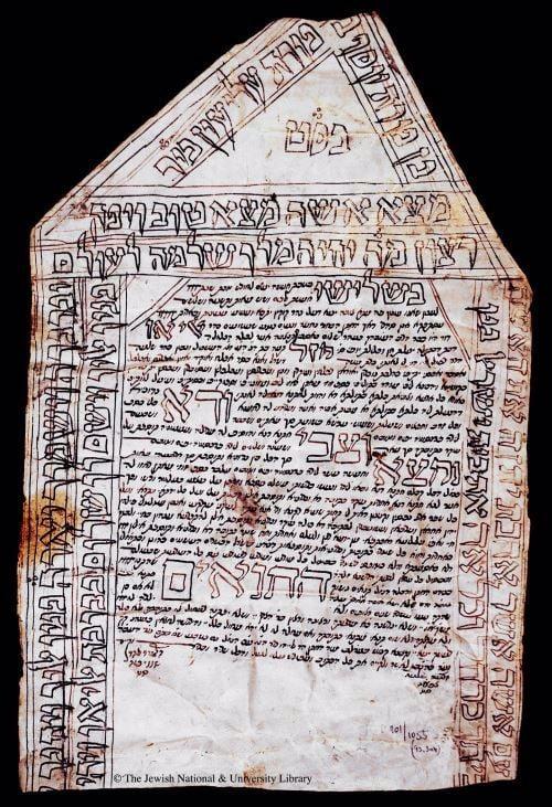 """כתובה עתיקה מסוריה (שנת 1848), בראשה נכתב """"מצא אישה מצא טוב"""""""