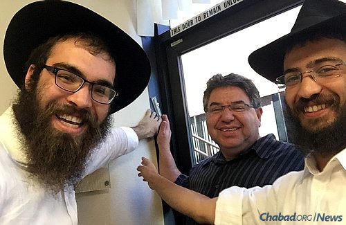 Helping put up a new mezuzah for this very active Jewish member in 4S Ranch, an unincorporated community of San Diego County. His former one disappeared.