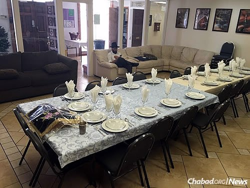 A table set for Shabbat in Albuquerque, N.M., where the two men stepped in to run services.