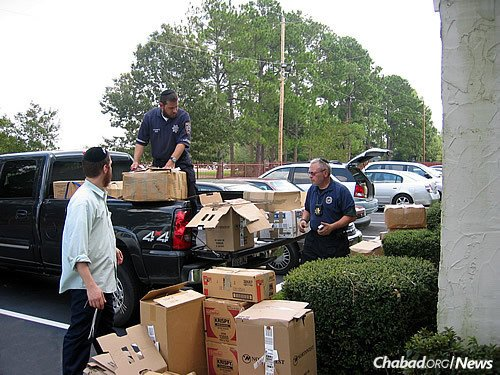 Working with other Jewish volunteers to get basic necessities to those in need.