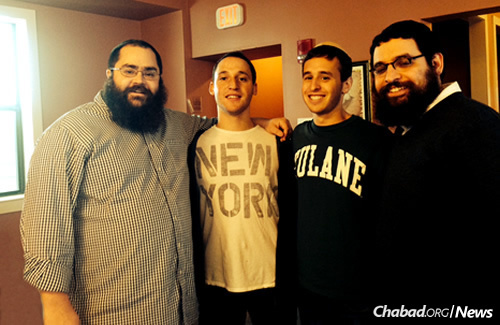 From left: Rabbi Yochanan Rivkin, Sam Lipman, Spencer Frankston and Rabbi Leibel Lipskier